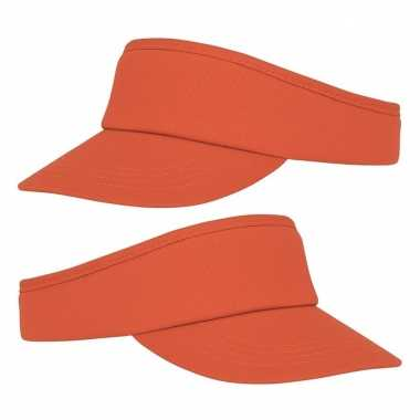 10x stuks oranje zonneklep pet voor volwassenen