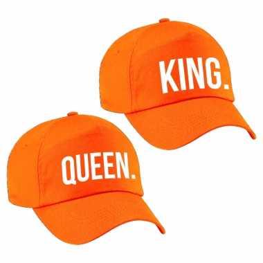2x oranje petje met king en queen tekst