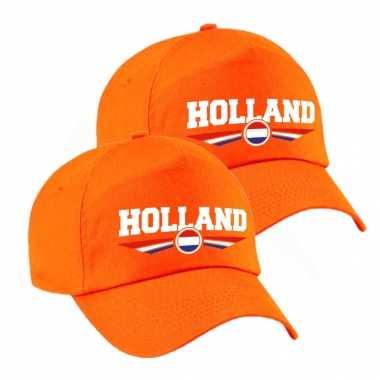 2x stuks nederland / holland landen pet / baseball petje oranje kinderen