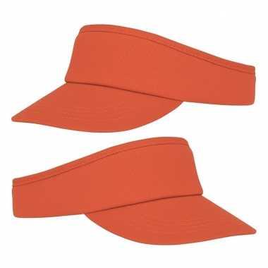 2x stuks oranje zonneklep pet voor volwassenen
