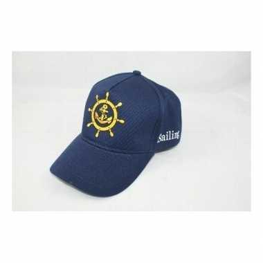 4x kapiteinspetjes blauw verkleed accessoire voor volwassenen