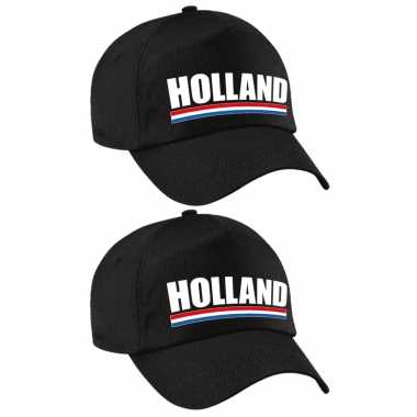 4x stuks holland supporter pet / petje nederland zwart kinderen