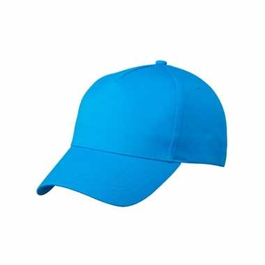 5 panel baseball pet blauw