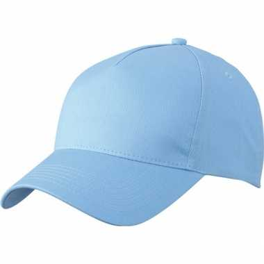 5 panel baseball pet licht blauw