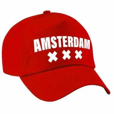 Amsterdam pet /petje rood volwassenen