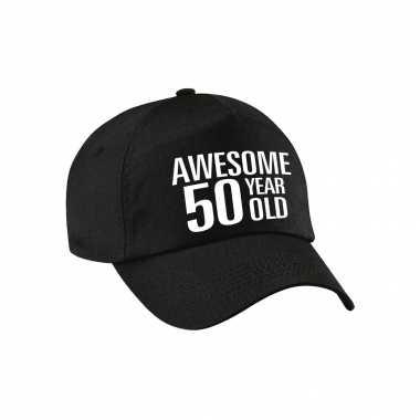 Awesome 50 year old pet / petje zwart voor dames en heren