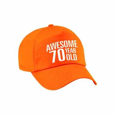 Awesome 70 year old verjaardag pet / petje oranje voor dames en heren