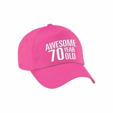 Awesome 70 year old verjaardag pet / petje roze voor dames en heren