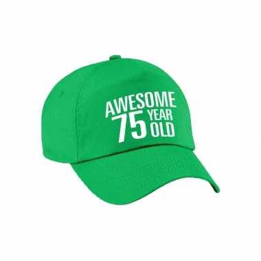 Awesome 75 year old verjaardag pet / petje groen voor dames en heren