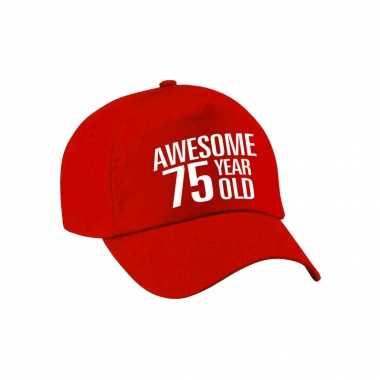 Awesome 75 year old verjaardag pet / petje rood voor dames en heren