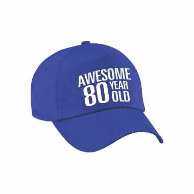 Awesome 80 year old verjaardag pet / petje blauw voor dames en heren
