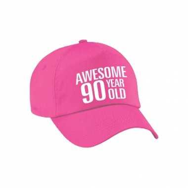 Awesome 90 year old verjaardag pet / petje roze voor dames