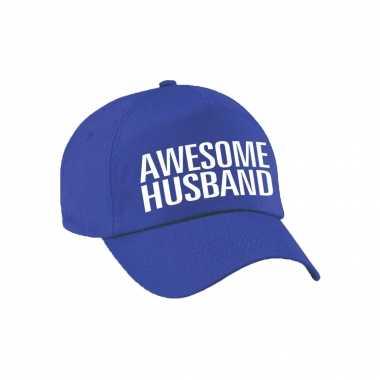 Awesome husband pet / petje voor echtgenoot / vriend blauw voor heren