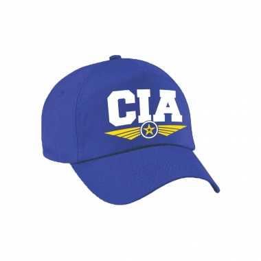 Cia agent tekst pet / baseball petje blauw voor volwassenen