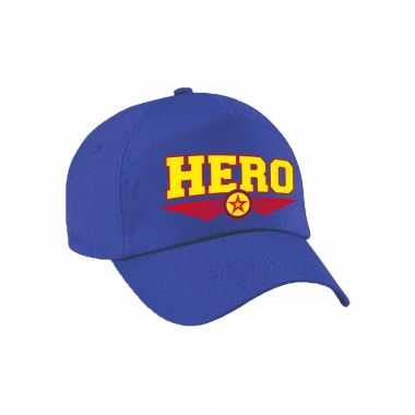 Hero / held tekst pet / baseball petje blauw voor volwassenen