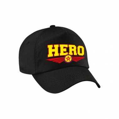 Hero / held tekst pet / baseball petje zwart voor volwassenen