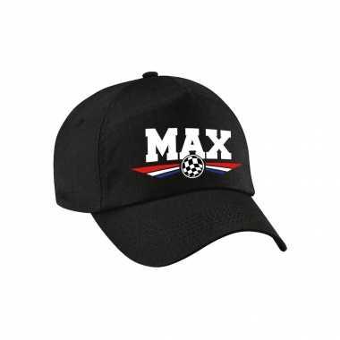 Max auto race supporter pet / baseball petje met nederlandse vlag zwart voor kinderen