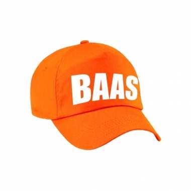 Oranje baas verkleed pet / petje voor volwassenen