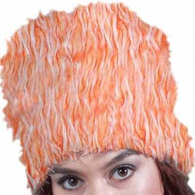 Oranje hoge bontmuts