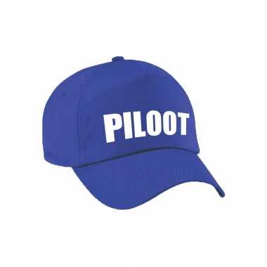 Piloot verkleed pet blauw kinderen