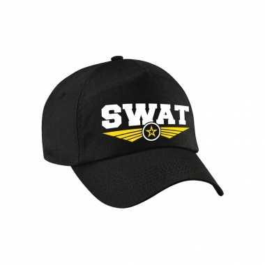 Politie swat team logo pet zwart voor kinderen
