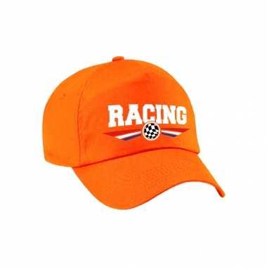 Racing coureur supporter pet / baseball petje met nederlandse vlag oranje voor kinderen