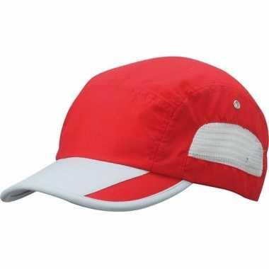 Rood/grijze sportieve pet voor volwassenen