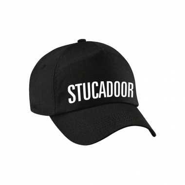 Stucadoor verkleed pet zwart volwassenen