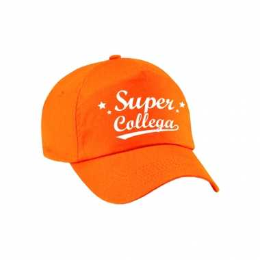 Super collega cadeau pet /petje oranje voor volwassenen