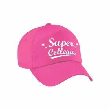 Super collega cadeau pet /petje roze voor volwassenen