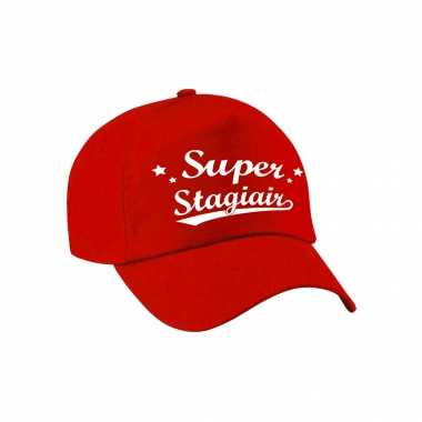 Super stagiair cadeau pet /petje rood voor heren