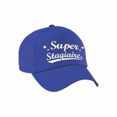Super stagiaire cadeau pet /petje blauw voor dames