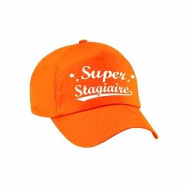 Super stagiaire cadeau pet /petje oranje voor dames