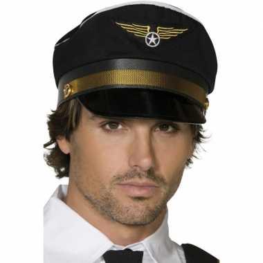 Zwarte piloten pet met gouden details