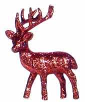Rood deco rendier met glitters 10 cm